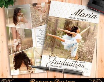 Senior Graduation Announcement Template for Photographers - Graduation Template - Grad Card
