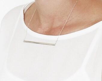 Gold Bar Necklace, Gold Minimalist Bar Necklace, Large Bar Necklace, Gold Plated Horizontal Bar Necklace.