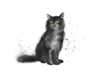 cat art print black cat print black cat cat lover gift cat