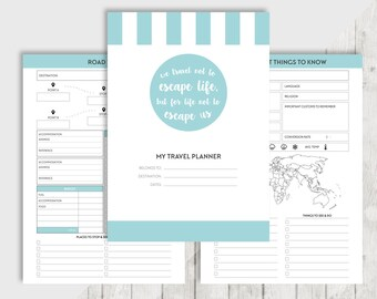 Printable TRAVEL Planner VACATION Planner A5 Personal Filofax Planner Inserts - Budget, Packing, Flights, Research, Bucket List, Journal