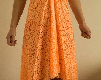 Cotton orange sleeveless dress