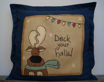 Christmas Pillow, Decorative Pillow, Reindeer Pillow, Hand Painted Pillow, Reindeer Decor, Throw Pillow, Button Throw Pillow, Holiday Decor