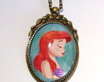 Ariel cameo pendant cabochon necklace