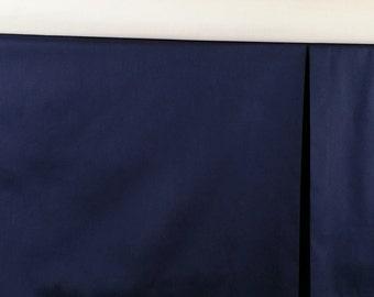 Crib Skirt Box pleat, Navy Blue, ADJUSTABLE Baby Bedding, box pleated, straight crib skirt, Made to order