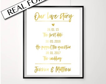 Love timeline in gold foil // Love story print / personalised wedding print / love quote print // custom love poster // custom wedding sign