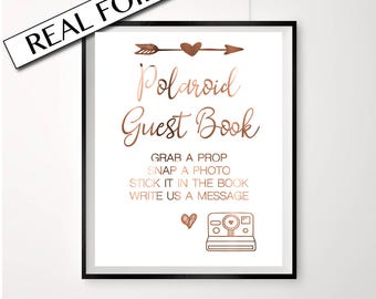 Polaroid Guest book sign copper foil // Strike a pose // grab a prop // engagement party photo booth print // photo sign party foiled