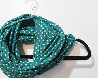 Green Polka Dot Infinity Scarf - Kelly Green Infinity Scarf - Green and White Scarf - Handmade Infinity Scarf - Kelly Green Polka Dots