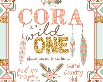 Tribal Wild One  Birthday Party Invitation