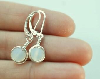 White sea glass earrings lever back earrings leverback sterling silver earrings sea glass jewelry opal like earrings wire wrapped earrings