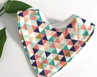 Baby Bib. Bandana Baby Bib. Triangle Dribble Bib. Baby Girl Bib. Baby Shower Present. Newborn Baby Bib. Colourful Triangles
