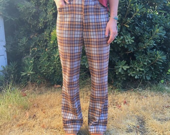 Plaid Tweed Flare High Waisted Pants