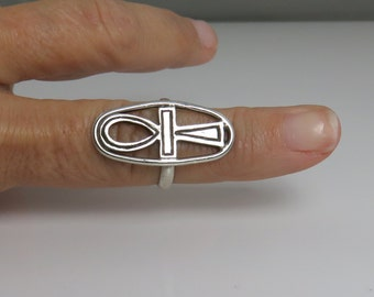 Vintage Sterling Onk Egyptian Cross Ring.