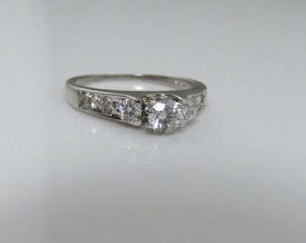 Antique Vintage 14k Diamond Wedding Engagement Ring.