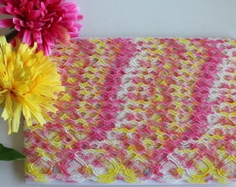 Stretch lace trim, multi coloured lace, lace trim, narrow lace, pink and yellow lace, lace yardage, narrow stretch lace, rainbow lace