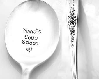 Stamped Spoon Vintage Silverware Nana's Soup Spoon Gift For Grandma Boullion Spoon Engraved Flatware Gifts Under 15 Personalized Flatware