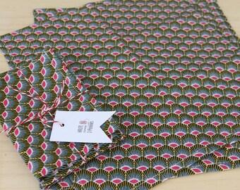 Lot of 2 Kleenex tissue in cotton - geometric pink feathers - zero green reusable washable handkerchief waste - 25 x 25 cm