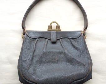 Vintage 1920s 30s Art Deco handbag, 1920s 30s leather bag, grey leather bag
