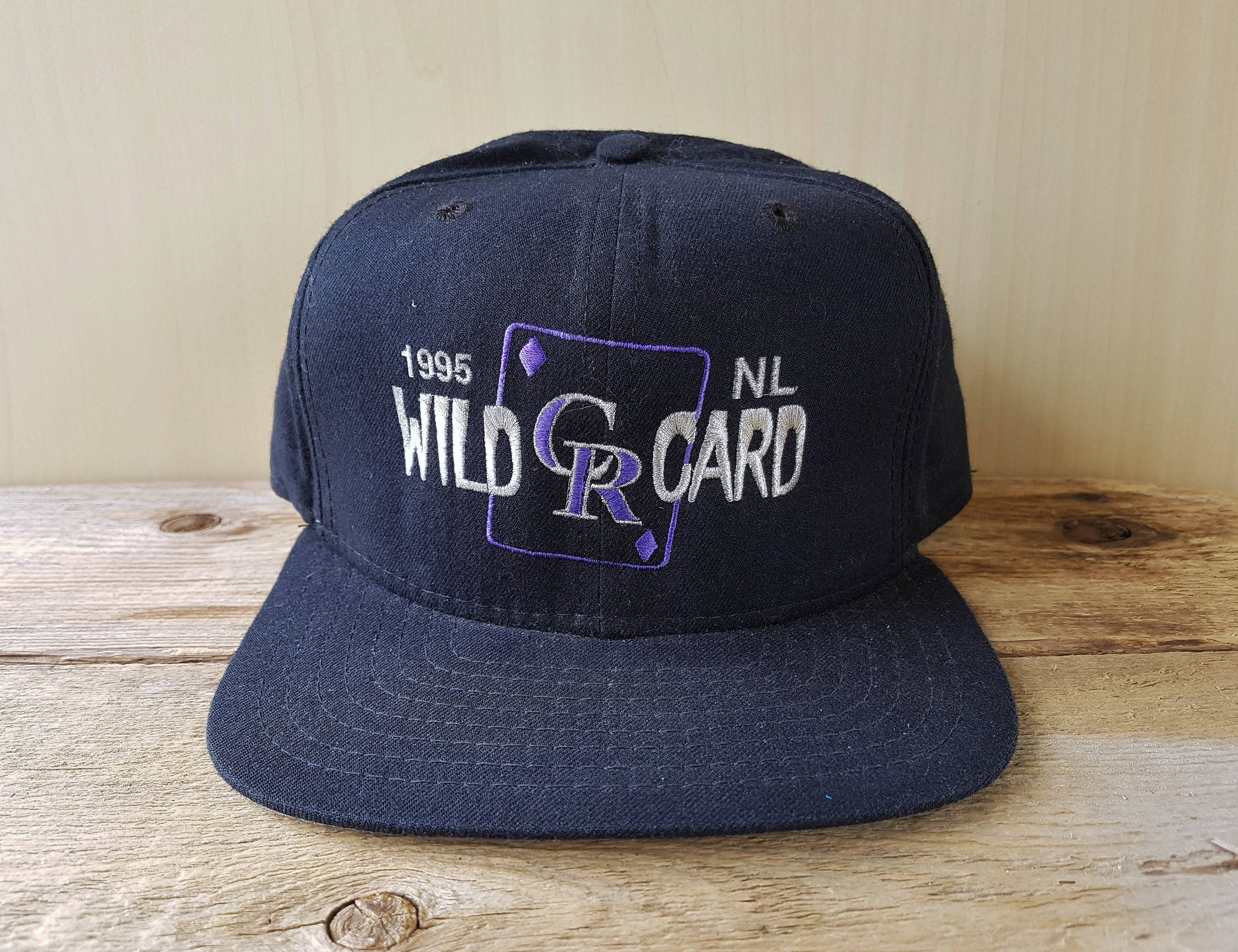 408e24700e3c8 COLORADO ROCKIES 1995 Wild Card Original Vintage New Era Pro Model Snapback  Hat Official MLB Baseball