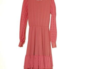 Pink Romantic Dress With Long Sleeves, Handmade Vintage Dress in Blush Pink, 80's Dress, Girly Dress, Summer Dress