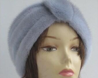 Mink Fur Hat Womans Winter Hats Handmade high Fashion gift for her 70s Headwear real fur head wrap headband Mink Fur Hat turban headband