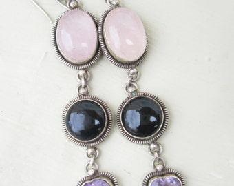 Vintage Sterling Silver Rose Quartz Black Onyx Amethyst Dangle Earrings, Purple Pink Heart