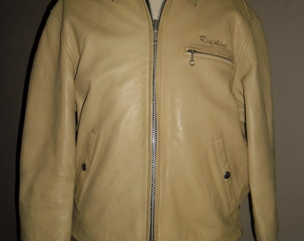 Stunning 90's Redskins Rare Tan or Dark Creamy Leather Jacket , Size L , Excellent Condition
