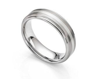 Inlaid Men's Titanium and White Gold Wedding Ring