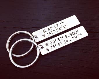 Custom Coordinates Couples Key Chain Set | Latitude Longitude Jewelry | Location GPS Coordinates Gift | Couples Wedding Or Anniversary Gift