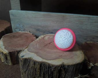 White and Pink Button Ring