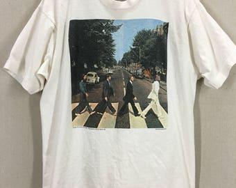 Vintage 1990 The Beatles Abbey Road Rock T-Shirt sz XL USA