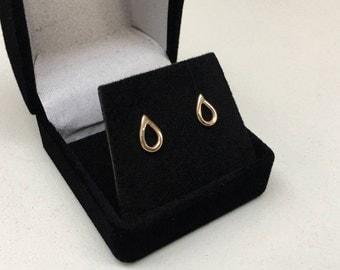 10K solid gold earrings - small raindrop / teardrop studs  - sterling posts - minimalist jewelry