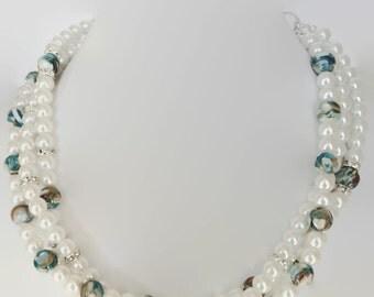 Pearl Bridal Jewelry - Beach Wedding Jewelry - Bridesmaid Jewelry - Bridal Necklace - Something Blue - Pearl Necklace - Wedding Jewelry