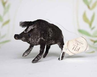 Spun cotton ornament Christmas Boar Wild pig forest