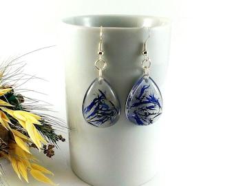 Royal blue wedding Jewelry gift For her Birthday gift For women Fiance gift For girlfriend Sterling silver earrings Flower earrings blue