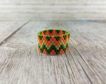 Avocado ring Statement ring Boho ring Band ring Olive geometric ring Wide ring Tribal ring Orange green Fashion ring Ethnic ring Herrinbone
