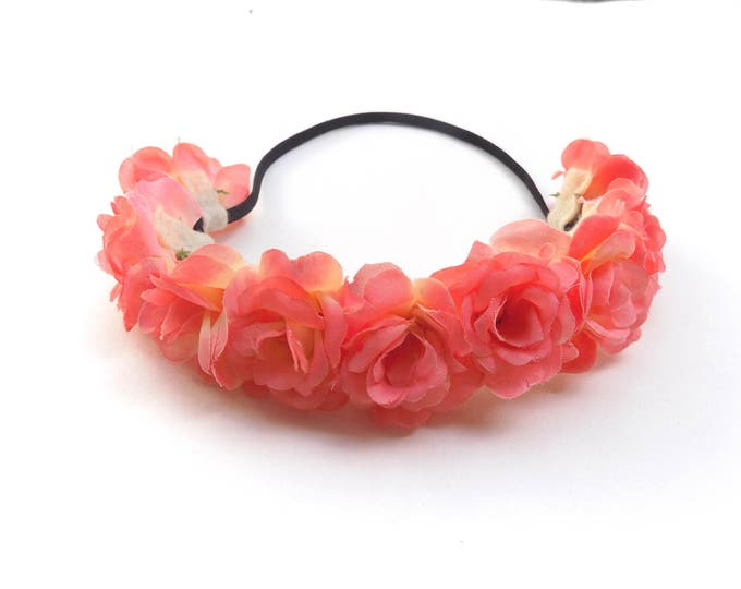 The Sugaree flower crown, elastic flower crown headband with peach pink roses, bohemian flower headpiece perfect for Coachella and festivals