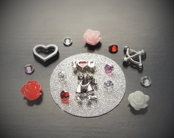 Valentine Floating Charm Set for Floating Lockets-16 Pieces-Fits 30mm (Large) Lockets-Gifts for Her-Valentine's Day