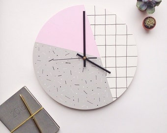Pastel Pink Wall Clock | Geometric Wall Clock | pale pink | Modern Gifts For Her | Home Decor | Wall Art