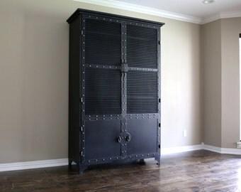 Modern Industrial Armoire | Steel Locker Closet | Vintage Industrial Cabinet | Wardrobe Locker | Storage | Pantry | French
