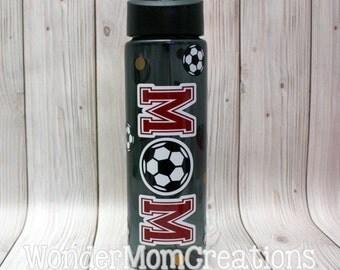 Soccer Mom Water Bottle; Soccer Mom Personalized Water Bottle; Soccer Player Water Bottle, Team Mom Water Bottle