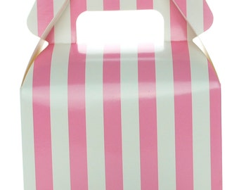 Wedding Favor Boxes, Hot Pink Stripe (12 Pack)- Small Gable Gift Boxes, Pink Treat Box Wedding Favor Boxes, Neon Pink Candy Box Party Favors