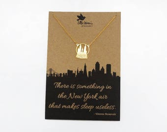 New York Necklace // Gold Skyline Necklace • New York Quote • Snow Globe • NYC Gift • City Jewellery • Statue of Liberty • Dainty Necklace