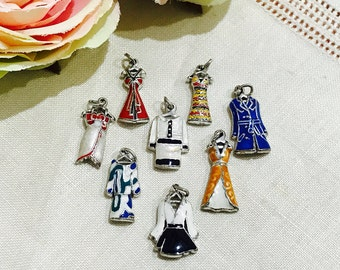 Set of 8 Vintage 1980s Enameled Charms Dresses Evening Gown Belted Coat 1980s Fashion
