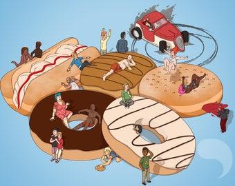 Bite Sized: Doughnut Selection, A3 Poster