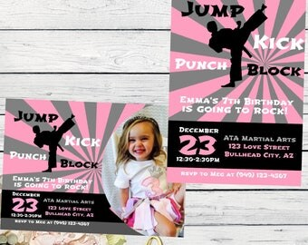Karate / Martial Arts Personalized birthday invitation- ***Digital File*** (karate-pnk)