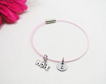 Hope Bracelet - Hope Charm Bangle - Initial Charm - Inspirational Jewelry - Initial Bracelet - Custom Bracelet - Friendship Bracelet