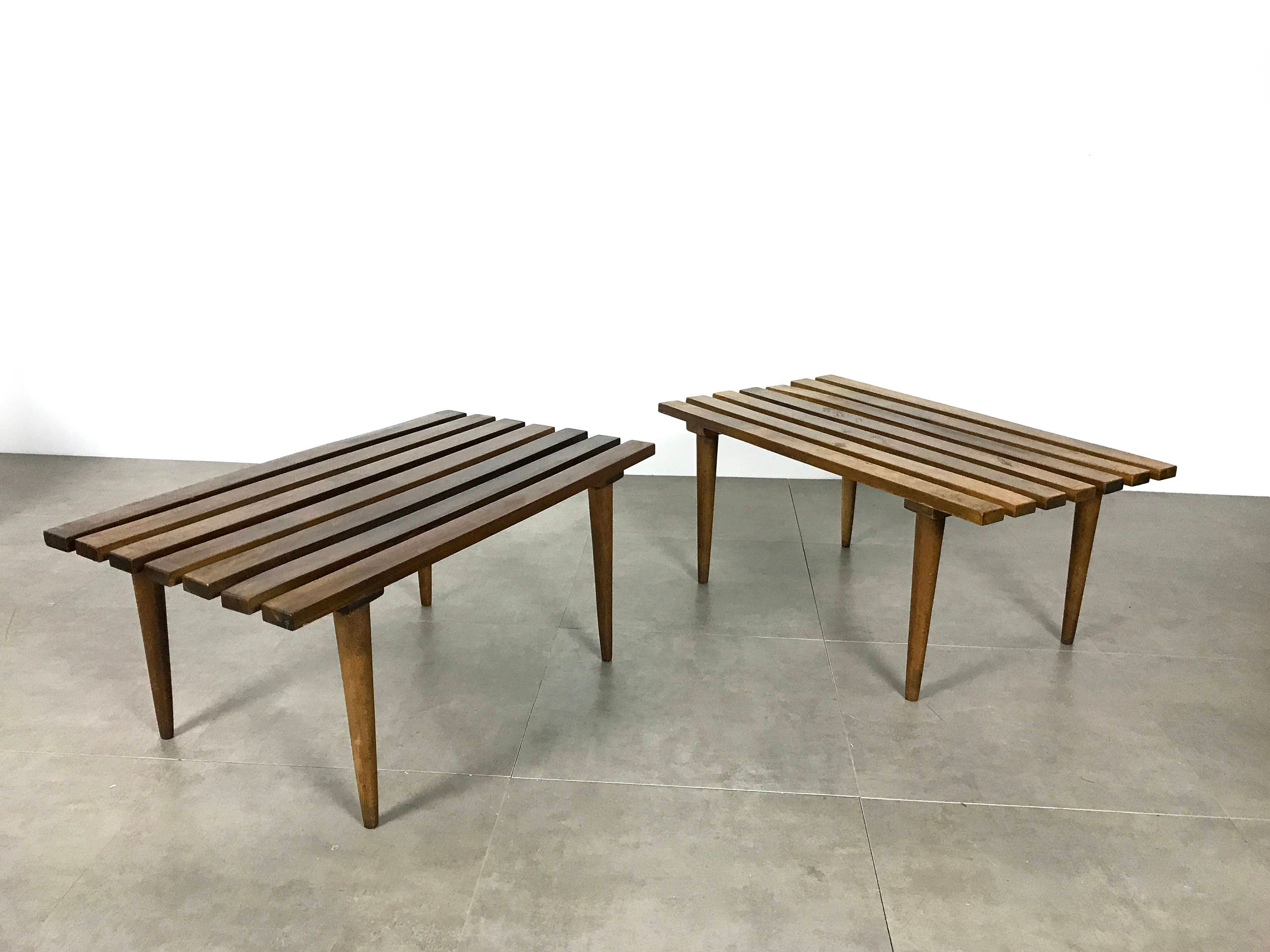 ON HOLD Pair Mid Century Modern Italian Slat Benches or Tables 1960 s