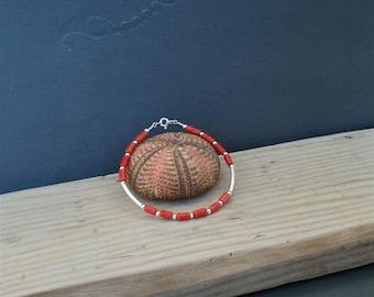 Small Bead Bracelet, Orange Coral Bracelet, Undyed  Coral, Sterling Silver Bracelet, Precious Natural Mediterranean Coral, Everyday Bracelet