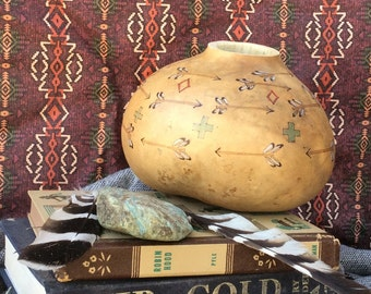 War path painted gourd, decorative gourd, native inspired design