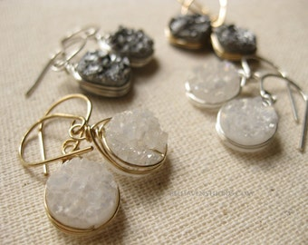 Round white rainbow Square graphite gray Druzy wire wrapped sterling silver 14k goldfil earrings Drusy agate gemstone trendy silver goldfil
